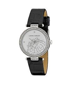 Laura Ashley Ladies' Black Crystal Bezel T-bar Floral Grey Alligator Strap Watch