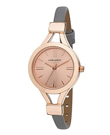 Ladies' Grey Thin Strap Rose Gold Case Watch