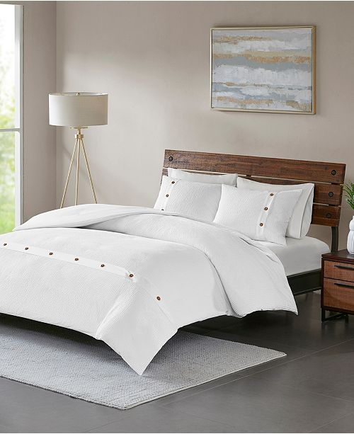JLA Home Madison Park Finley King/California King 3 Piece Cotton Waffle Weave Duvet Cover Set