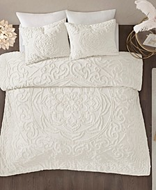 Laetitia Full/Queen 3 Piece Cotton Chenille Medallion Comforter Set