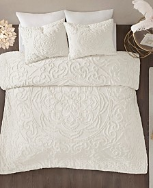 Madison Park Laetitia Queen 3 Piece Cotton Chenille Medallion Comforter Set