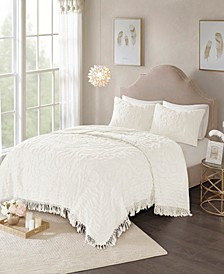 Laetitia Full/Queen 3 Piece Cotton Chenille Medallion Fringe Coverlet Set