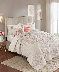 Madison Park Elise Full/Queen 6 Piece Cotton Printed Reversible Coverlet Set