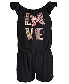 Epic Threads Little Girls Love-Print Romper, Created for Macy's