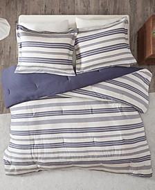 Urban Habitat Cole King/California King Stripe Print Ultra Soft Cotton Blend Jersey Knit 3 Piece Comforter Set