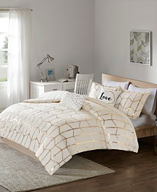 Intelligent Design Raina King/California King 5 Piece Metallic Printed Duvet Cover Set