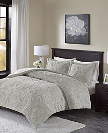 Ava Full/Queen Medallion Ultra Plush 3 Piece Comforter Mini Set