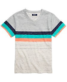 Univibe Big Boys Jacob Colorblocked Stripe V-Neck T-Shirt