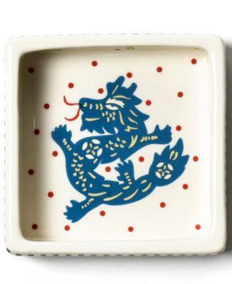 by Laura Johnson Chinese Zodiac Dragon Square Trinket Bowl