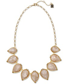"Gold-Tone Swirl Bead Statement Necklace, 16"" + 2"" extender"