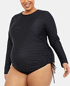 Motherhood Maternity Plus Size Polka-Dot Swim Top