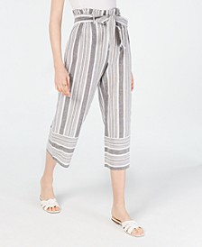 Juniors' Cotton Paperbag Gaucho Pants