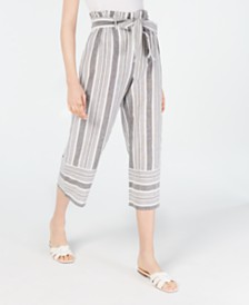 Planet Gold Juniors' Cotton Paperbag Gaucho Pants
