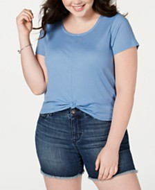 Planet Gold Trendy Plus Size Twist-Front Top