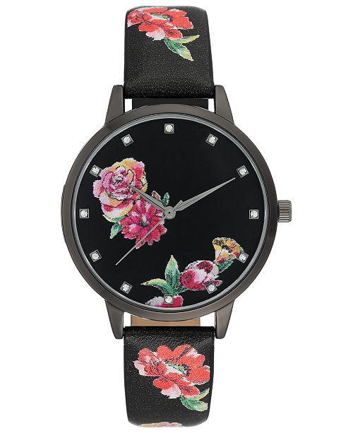 INC International Concepts I.N.C. Women's Black Floral Faux Leather Strap Watch 38mm, Created for Macy's