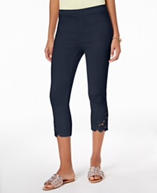 I.N.C. Cropped Lace-Contrast Capri Pants, Created for Macy's