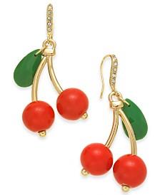 I.N.C. Gold-Tone Cherry Drop Earrings, Created for Macy's