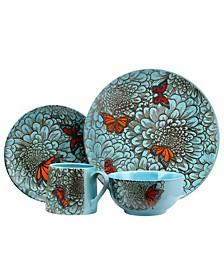 Butterfly Garden 16 Piece Stoneware Dinnerware Set