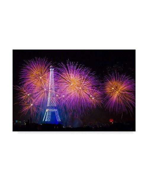 """Trademark Global Laurent Lothare Dambreville 'Paris Eiffel Tower Fireworks' Canvas Art - 19"""" x 12"""" x 2"""""""