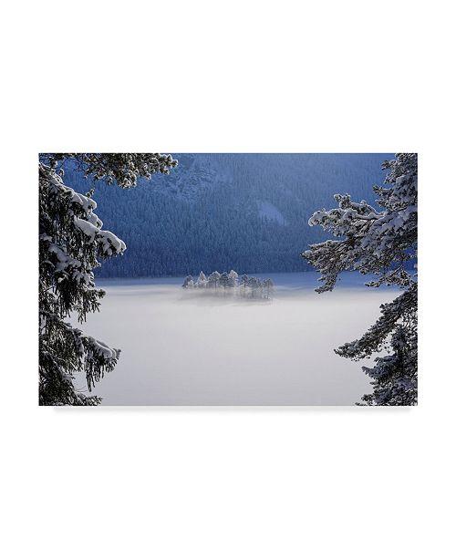 """Trademark Innovations Norbert Maier 'Fog Over Frozen Lake' Canvas Art - 24"""" x 16"""" x 2"""""""