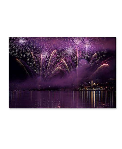 "Trademark Global Roberto Marini 'Fireworks Lake Pusiano' Canvas Art - 24"" x 16"" x 2"""