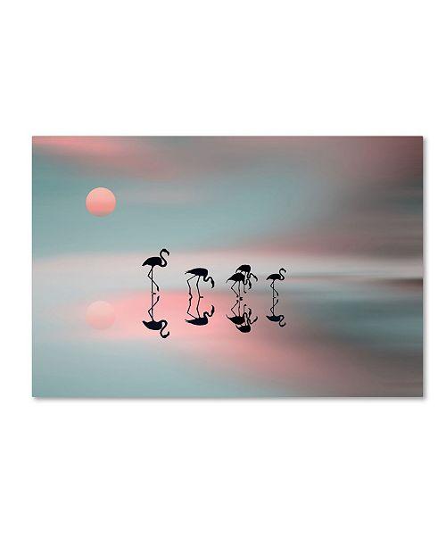 "Trademark Global Natalia Baras 'Family Flamingos' Canvas Art - 24"" x 16"" x 2"""