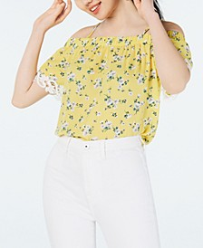 Juniors' Printed Crochet-Trimmed Off-The-Shoulder Blouse