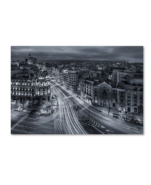 "Trademark Global Javier De La 'Madrid City Lights' Canvas Art - 32"" x 22"" x 2"""