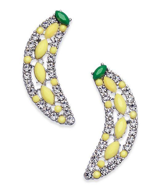 INC International Concepts INC Silver-Tone Pavé & Stone Banana Stud Earrings, Created for Macy's