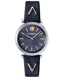 Women's Swiss V-Twist Blue Leather Strap Watch 36mm