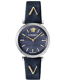 Versace Women's Swiss V-Twist Blue Leather Strap Watch 36mm