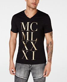 GUESS Men's Metallic Grid Logo Graphic V-Neck T-Shirt