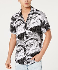 GUESS Men's Rogan Rest In Paradise Palm-Print Shirt