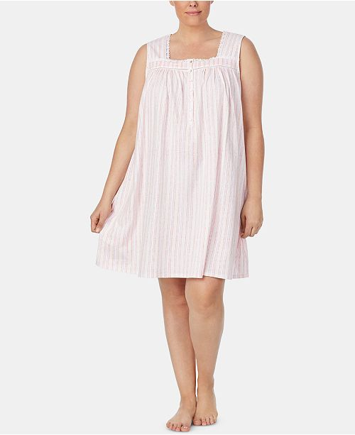Eileen West Plus Size Printed Cotton Knit Nightgown