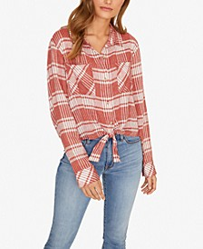 Resort Plaid Tie-Front Button-Up Top