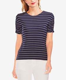 Vince Camuto Striped Ruched-Sleeve Top