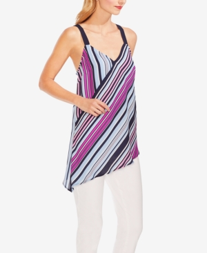 Vince Camuto Tops STRIPED ASYMMETRICAL-HEM TOP