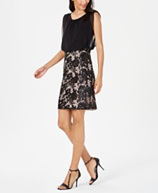 Calvin Klein Blouson Lace Sheath Dress