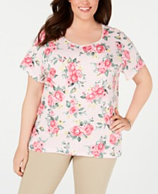Karen Scott Plus Size Mixed-Print T-Shirt, Created for Macy's