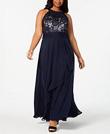 Calvin Klein Plus Size Sequined Halter Gown