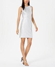 Embellished Metallic Sheath Dress