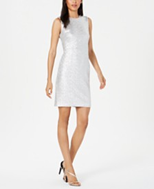 Calvin Klein Embellished Metallic Sheath Dress