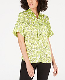 Petite Printed Short-Sleeve Blouse, Created for Macy's