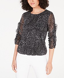 Petite Printed Ruched-Sleeve Mesh Bubble Top, Created for Macy's