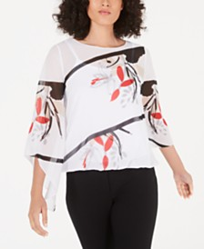 Alfani Printed Angel-Sleeve Top, Created for Macy's
