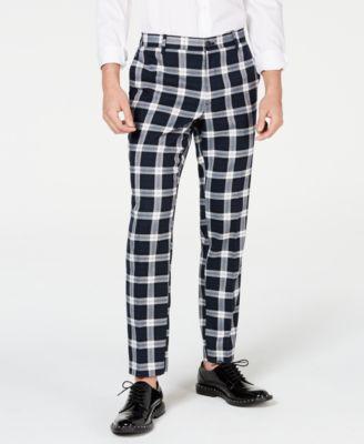 I.N.C. Men's Slim-Fit Stretch Tartan Suit Pants, Created for Macy's