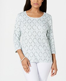 Karen Scott Vine-Print 3/4-Sleeve Top, Created for Macy's