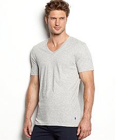 polo ralph lauren men's slim-fit classic cotton v-neck Undershirt 3-pack