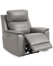 """Goodwick 37.5"""" Leather Power Motion Recliner, Created for Macy's"""