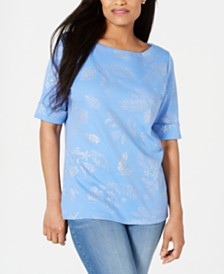 Karen Scott Majestic Metallic-Print Top, Created for Macy's